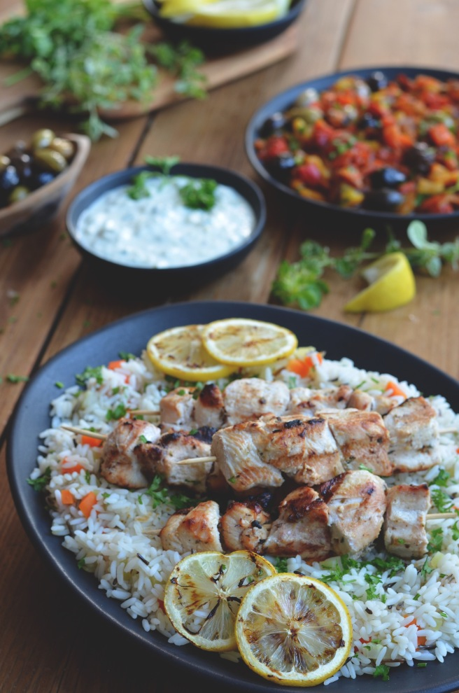 grilled chicken, tzatziki, moroccan roasted pepper salad | conifères et feuillus