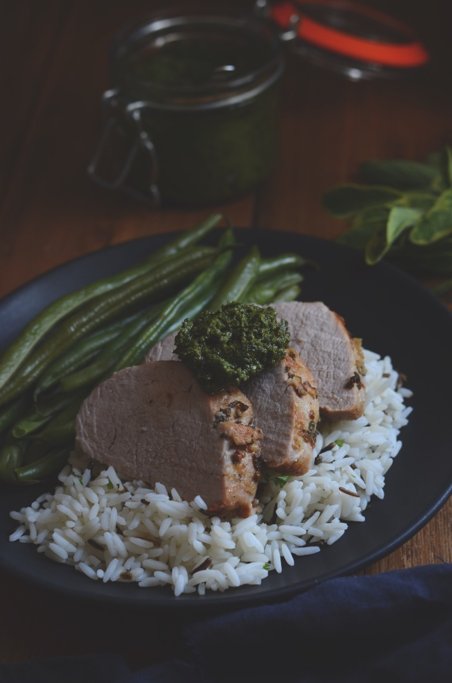 sage and garlic pork tenderloin with almond sage pesto | conifères & feuillus