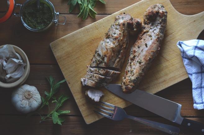 sage and garlic pork tenderloin with almond sage pesto   conifères & feuillus