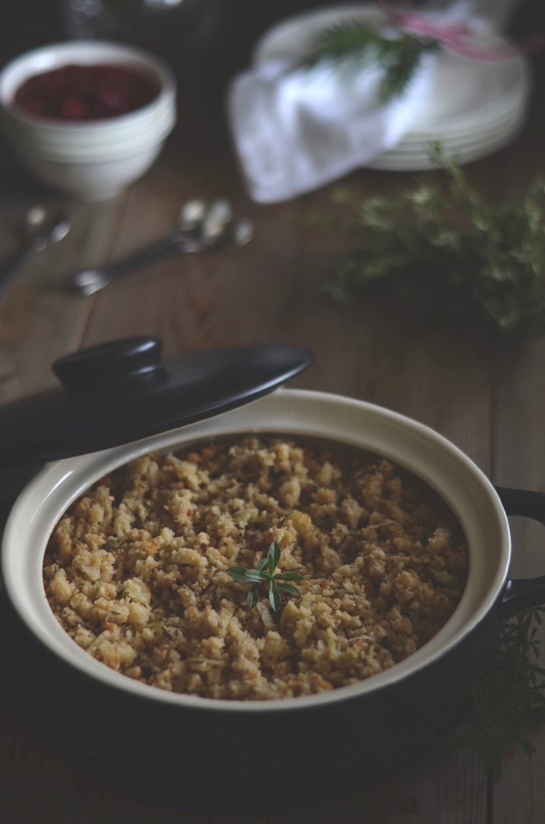 acadian potato and bread stuffing with savory | conifères & feuillus
