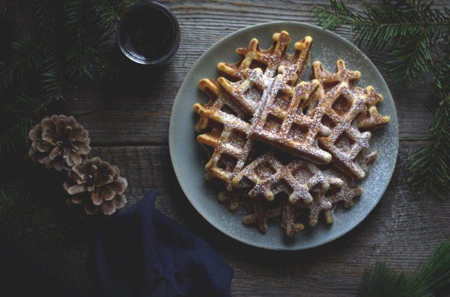 lemon ricotta waffles and wild blueberry sauce   conifères & feuillus