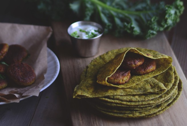 kale roti and kale chickpea patties | conifères & feuillus