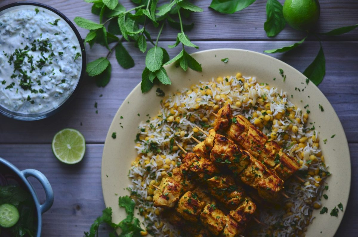 indian-spiced grilled chicken with cucumber raita