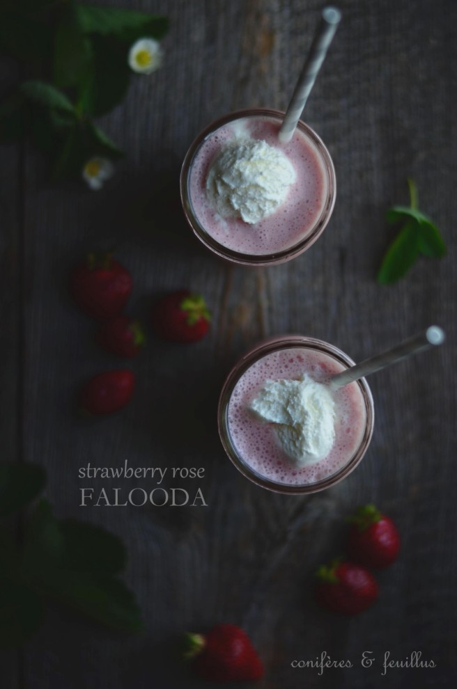 healthy strawberry rose falooda
