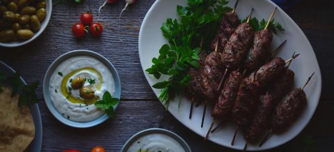 grilled lamb kafta & tahini yogurt sauce | conifères & feuilllus