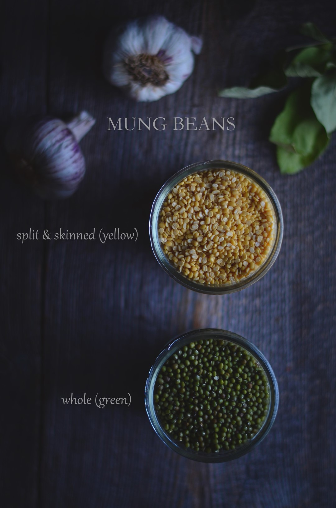 whole and split and skinned mung beans