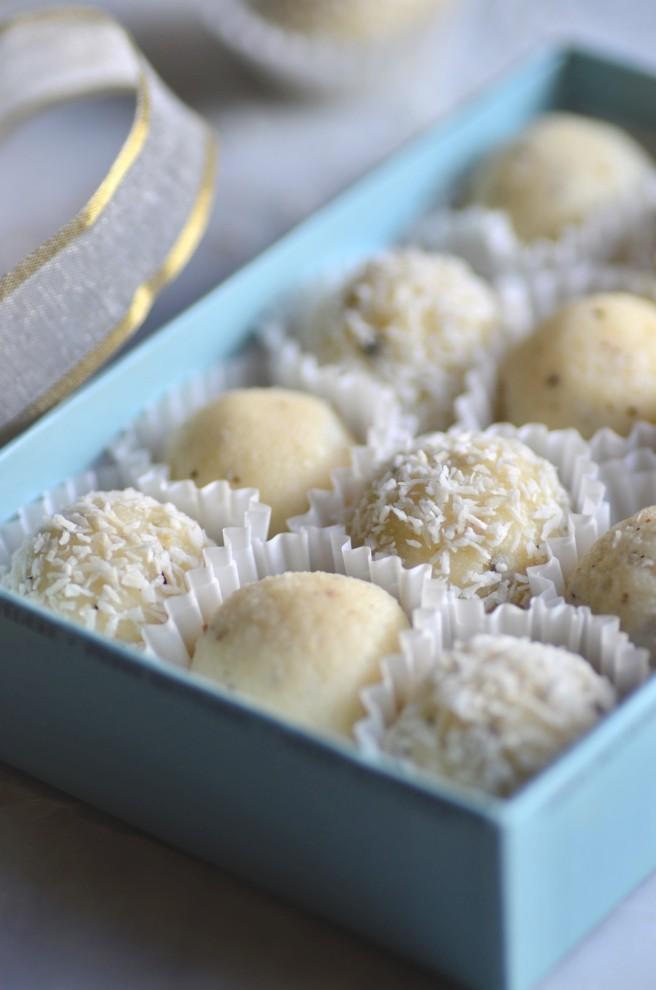 cardamom-spiced coconut & cream truffles | conifères & feuillus